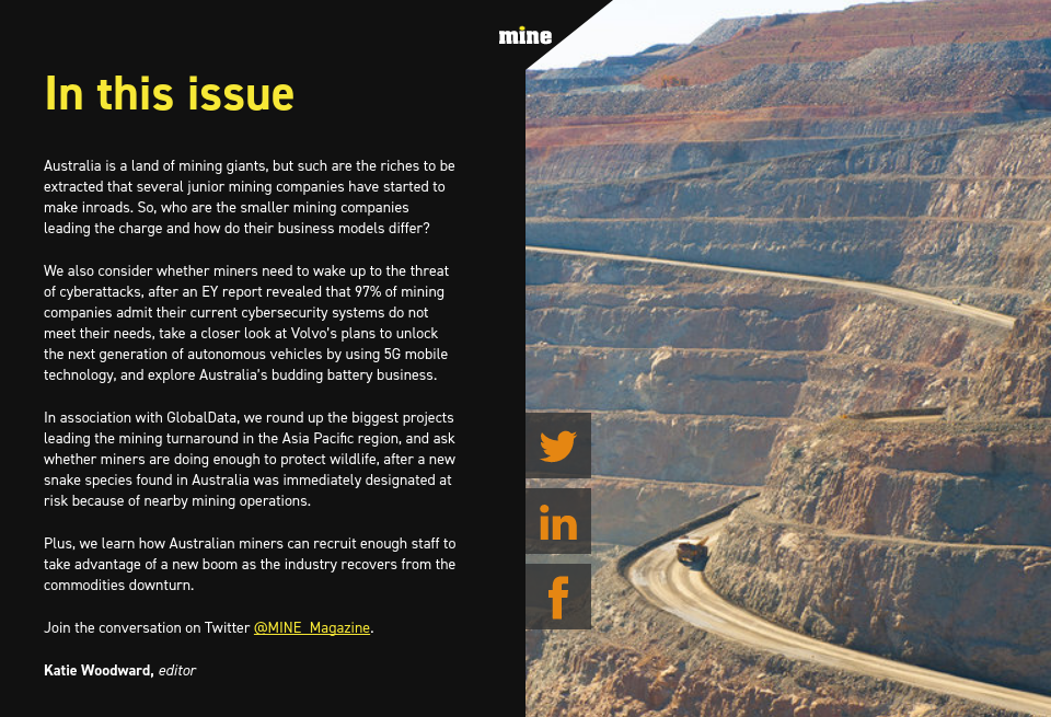In this issue - Mine Australia Magazine | Issue 2 | October 2018