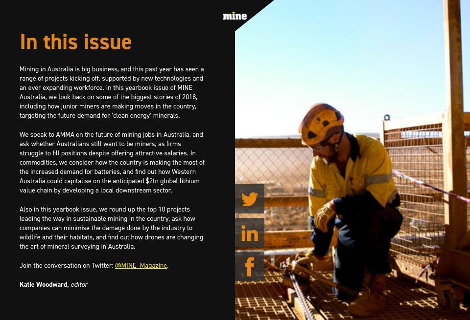 In this issue - Mine Magazine Australia | Yearbook 2018